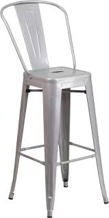 Outdoor Bar Stools With Backs 30 U0027 U0027 High Silver Metal Indoor Outdoor Barstool With Back Ch 31320