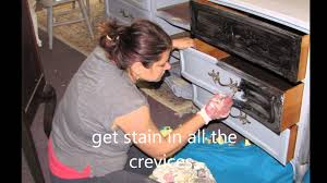 can you stain painted cabinets antiquing furniture with polyshade or gel stain youtube