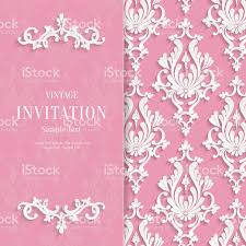 vector pink floral 3d wedding invitation background template stock