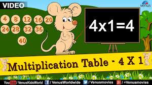 multiplication tables for children multiplication table 4 x 1 multiplication rhymes for kids youtube