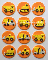 construction cake toppers fondant cupcake toppers construction trucks by topitcupcakes
