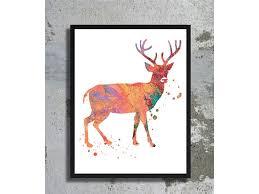 orange deer watercolor archival art print reindeer poster reindeer