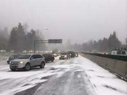Winter Lane Light Flurries by Snow Hits Portland Again Traffic Gridlocked All Around Metro Ar