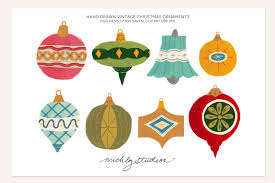 vintage christmas ornament clipart illustrations creative market