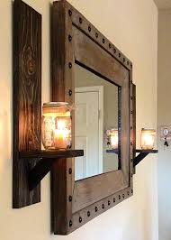 Mirrored Wall Sconce Candle Holders Design Mirrors Chain Thickness Materials Rustic