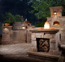 exterior amazing outdoor kitchen design ideas with cream stone