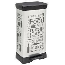 poubelle de cuisine curver poubelle rectangulaire décor kitchen 50 l argent poubelle