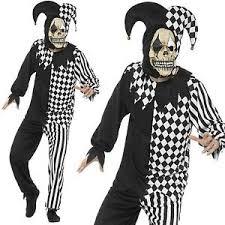 mens evil jester joker costume killer clown fancy dress costume