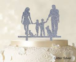 w cake topper family cake topper personalized silhouette glitter cake topper