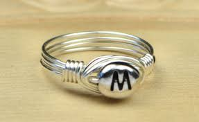Monogram Initial Ring Letter M Monogram Initial Ring Sterling Silver By Simplycharmed21