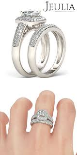 Jeulia Wedding Rings by 3pc Parallel Emerald Cut Created White Sapphire Sterling Silver