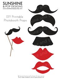 instant download diy printable photobooth props mustache lips