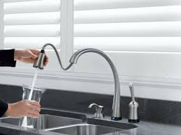 touch on kitchen faucet touch activated kitchen faucet delta pilar pull faucet with
