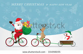 santa claus reindeer snowman cycling bicycles stock vector