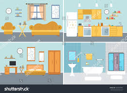 set vector interiors furniture equipment design stock vector