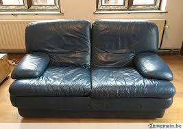 canapé très confortable canapé cuir bleu 2 places très confortable a vendre 2ememain be