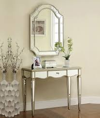 mirrored console vanity table zola antique silver mirrored vanity console table