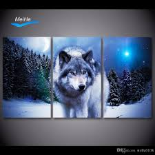 2017 canvas art paintings printed snow wolf moon wall art print