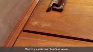 How To Remove Oil Stains From Wood Cabinets How To Remove A Water Stain From Teak Veneer Furniture Youtube