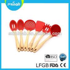 Red Kitchen Utensil Set - 7 pcs red wood handle high quality silicone kitchen cooking
