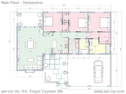 dimensioned floor plan the tropic cayman 3br am cor inc ferrocement construction systems