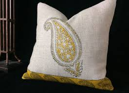 Paisley Home Decor Linen Pillow Case Traditional Block Printed Paisley Design
