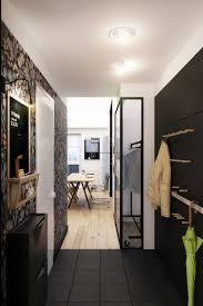 corridor lighting apartments corridor with black floor and beautiful wallpaper
