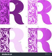 different color purples set four letters r different color stock vector 57264028