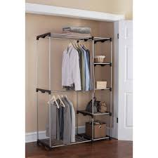 bedroom black silver wardrobe organizer with 4 shelf and hanging