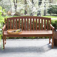 amherst curved back outdoor wood garden patio bench in natural