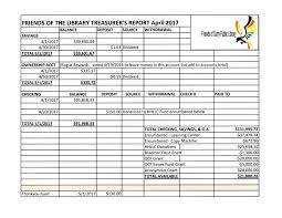 Treasurer Spreadsheet Treasurer S Reports Of Curry Library