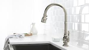 kohler brushed nickel kitchen faucet artifacts collection kohler