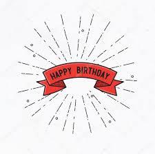 happy birthday simple design happy birthday flat design thin line banner stock photo