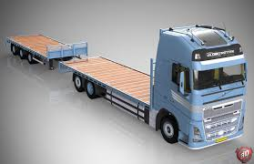 volvo model trucks 3d volvo fh flatbed empty with trailer model 3d model obj mtl