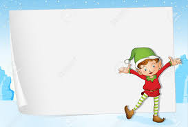 illustration of an elf on christmas paper background royalty free