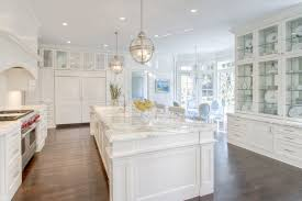 Restoration Hardware Kitchen Faucet by Long Kitchen Island With Two Lanterns Transitional Kitchen