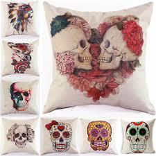 Halloween Skull Decorations Halloween Skull Decorative Linen Sofa Home Cushion Cover Throw