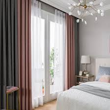 Gray Curtains For Bedroom Linen Solid Color 2 Tone Pink And Gray Curtains