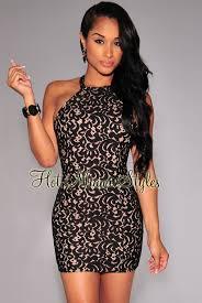 lace illusion t strap back dress