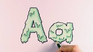how to colour a cartoon halloween slime letter a and a youtube
