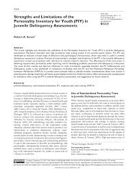 strengths and limitations of the personality inventory for youth