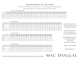 mac duggal dress and gown size chart