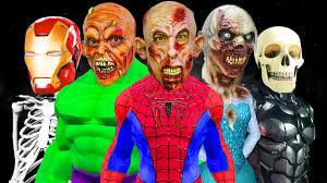 Zombie Family Halloween Costumes by Superheroes Becomes Zombies Skeleton Frozen Elsa Spiderman Hulk