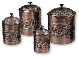 kitchen storage container set antique style copper 4 piece set