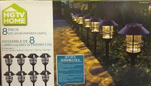 amazon com hgtv solar pathway lights 8pc set wall porch lights