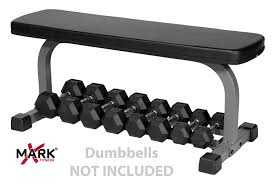 Bench Exercises With Dumbbells Amazon Com Xmark Fitness Flat Weight Bench With Dumbbell Rack Xm