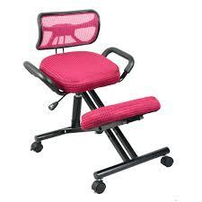 chaise roulettes du genou ergonomique chaise avec le dos et poignée maille tissu