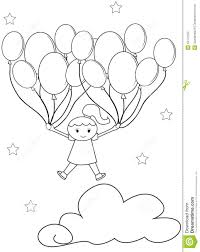 with balloons coloring page stock illustration image 54172102