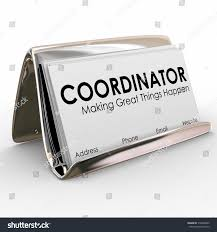 Business Card In Word Coordinator Word On Business Cards Holder Stock Illustration