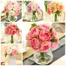 10 heads artificial silk flower peony wedding bouquet party home